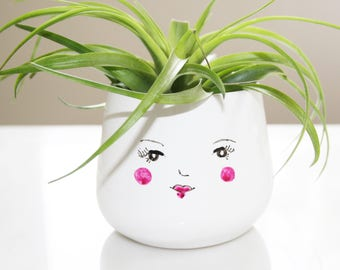Cute face air plant planter / succulent planter / small plant planter / pencil holder