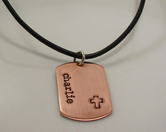 Boys christian gift -MINI DOG TAG- personalized-Hand Stamped Copper dog tag cross Necklace- first communion gift  confirmation gift