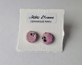 Raku ceramic earrings, pink raku ceramic earrings, ceramic earrings, purple stud, pink earrings, round earrings