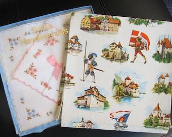 Vintage Swiss Cotton Handkerchiefs in the Original Box, Set of 2 Handkerchiefs, Circa 1970s - Please see Description