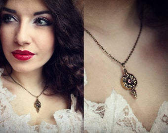 Steampunk Necklace Secret Compartment Necklace Brass Poison Flower Necklace Hidden Compartment