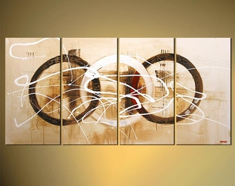 White Geometric Abstract Painting, Original Contemporary Modern Painting on Canvas by Osnat - MADE-TO-ORDER Crop Circles