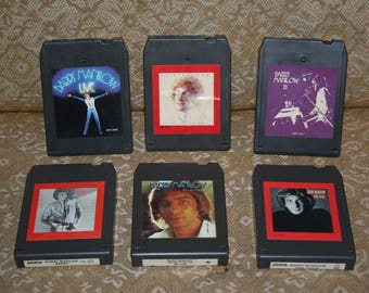 Vintage 1970s 1980s Barry Manilow Six 8-Track Tapes!  Live!  One Voice, Barry, Barry Manilow II, If I Should Love Again, This One's For You