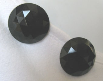 Large Vintage Black Glass Faceted Button Earrings