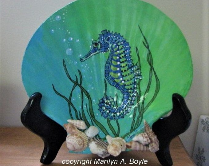 SEASHELL-HAND PAINTED; front and back, wood stand, smaller seashells, pearls on the back, one of a kind, unique gift