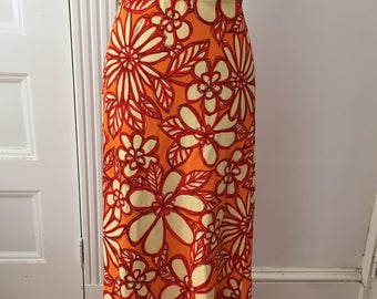 Vintage 70s Maxi Skirt, Orange Floral Maxi Skirt Size S Small, 1970s Large Print Flower Power Skirt, Boho Hippie skirt, 70s Orange Skirt