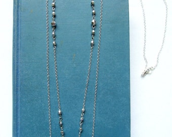 Long Layered Silver Necklace - Dainty Double Strand Silver Chain Beaded Necklace