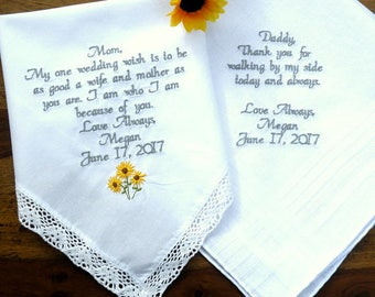 Bridal Wedding Hanky Set of 2 Embroidered Wedding Handkerchiefs, Wedding Gift for Mom, Dad, Wedding Gifts By Canyon Embroidery