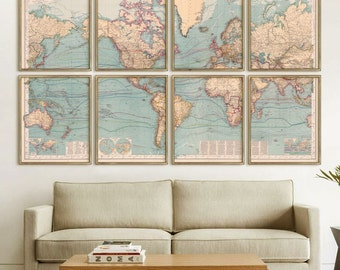 "XL World map 1897, Big old map of the World, 5 sizes up to 96 x 60"" or 8 x 5 ft (240 x 150c m) in 1 or 8 parts - Limited Edition of 100"