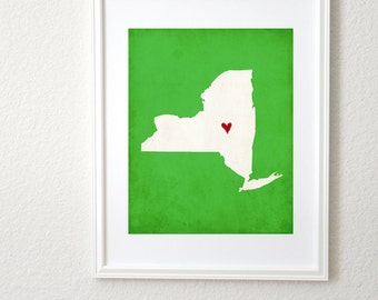 New York State Art Silhouette Map Personalized Print