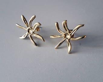 Silver gold plated flower Earrings, Flower Earrings, Sterling Silver Stud Earrings, Floral Jewelry, for her,for teens