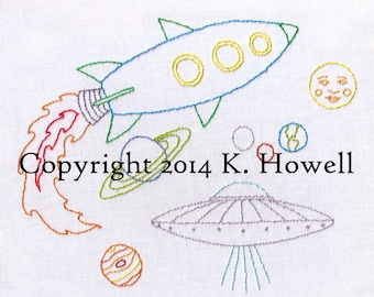 Space Hand Embroidery Pattern, Astronaut, UFO, Planets, Solar System, Space, Rocket, Alien, Explore, PDF