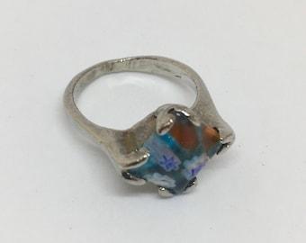 Millefiori Glass Silver Tone Size 6 Ring