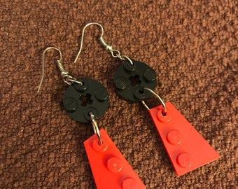 Red & Black LEGO Dangly Earrings