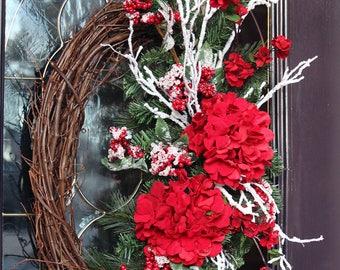 Elegant Red Valentine's Day wreath, Winter wreath for front door, Valentine door wreath, Winter decor, Winter door wreaths, Valentines gift
