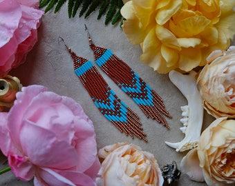 Rusty Turquoise // Native American Beaded Earrings / Organic Jewelry / Beadwork / Southwestern Style / Boho Earrings / Festival Style
