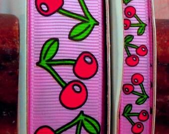 "2 Yards 3/8"" or 7/8"" Pink Cherry Print Grosgrain Ribbon - US Designer"