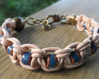 Women's Tan Greek Leather with Terra Cotta Blue Ceramic Bead Bracelet with Antique Brass Lobster Clasp and ying yang charm