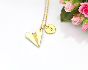 Paper Airplane Necklace, Gold Paper Airplane Charm,Paper Plane Necklace, Paper Plane Charm, Origami  Airplane Charm, Teen Gift, N154