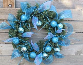 "15"" Christmas Wreath Christmas Ball Wreath Ornament Wreath Blue Christmas Wreath Christmas Door Decor Snowflake Wreath Greenery Wreath"