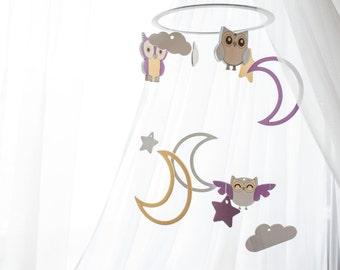Baby crib mobile - Moon owl baby mobile - Owl nursery mobile - Baby mobile - Nursery decor Baby mobile woodland Crib mobile