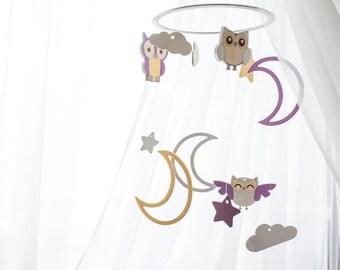 Baby mobile -crib mobile - Moon owl  - Owl nursery mobile - baby shower gift - Nursery decor woodland - stars grey nursery