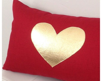 GOLD Heart Pillow Cover  Wedding Decor   Red and Gold Heart Pillow  Wedding Gifts  Red Lumbar  Heart Pillow  Gift Ideas Housewarming gift