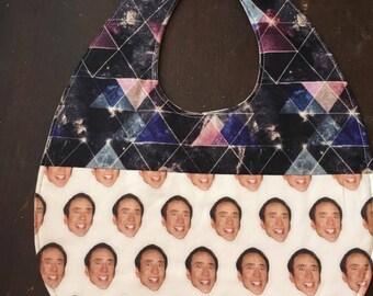 Nicolas Cage baby bib, Weird baby bib, Crazy eyes, unique baby gift