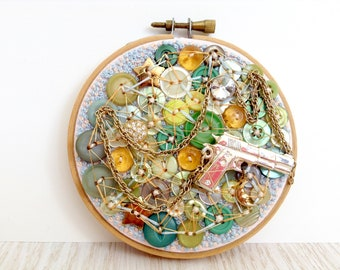 BING BANG BONG, Upcycled Embroidery Hoop Art, Vintage Hoop, Toy Gun Gold Chain French Knot, Green, Yellow, Blue, Stars And Moon