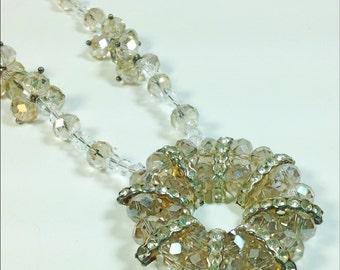 Vintage beaded crystal necklace circle smokey brown
