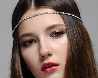 Lola Rhinestone Headband, Boho Headband, Gatsby Headband, Bohemian Headband, Vintage inspired Headband, Forehead Jeweled Headpiece