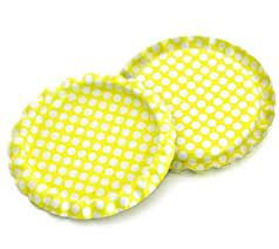 Laser Cut Supplies- 4 Bottle Caps Flattened Single Two Sided Bright Yellow - White Polka Dots - Little Laser Lab