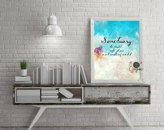 LEMONY SNICKET-Sanctuary A small, safe place in a troubling world-Series of Unfortunate events-watercolor quote art-Inspirational wall art