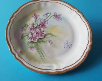 Limoges Porcelain Plate-CM 18.5-violets violets-customizable-double fillet in pure gold