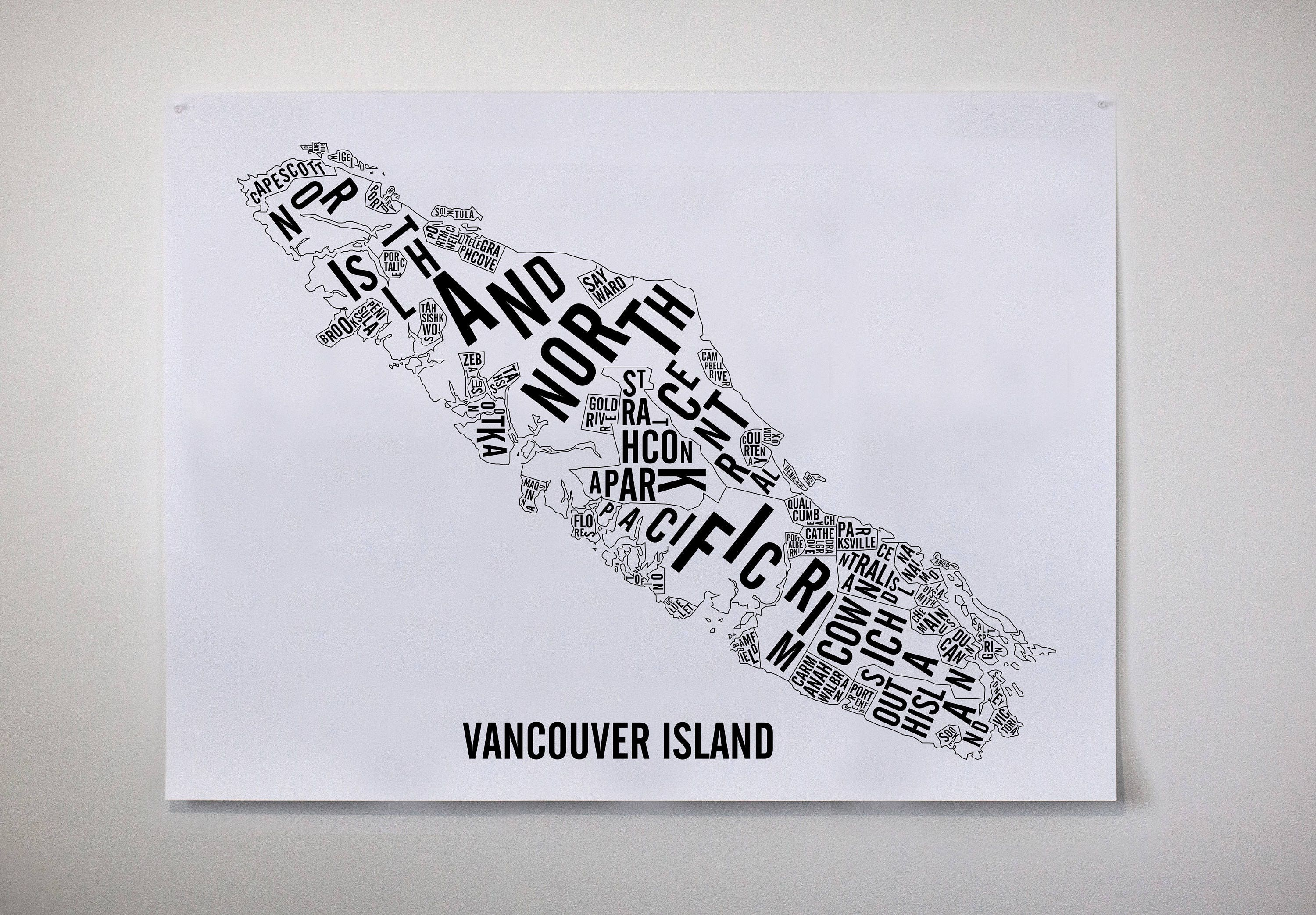Vancouver island typographic map bc art bc map bc poster