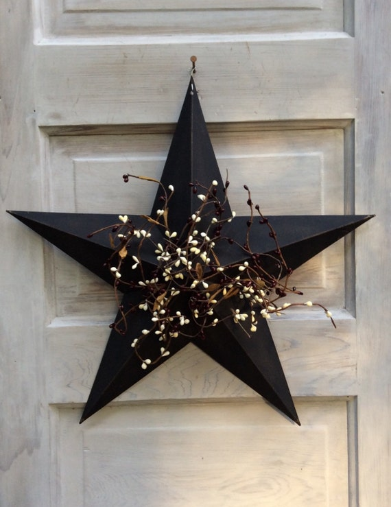 Rustic Star with Pip Berries Country Star Decor Metal Star