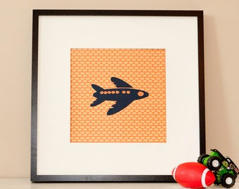 Modern Children's Paper Wall Art - Airplane in the Air - Personalized - 12 x 12 - Orange or custom color
