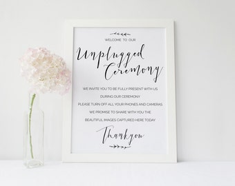 Rustic Casual | Printable Unplugged Ceremony Sign | Instant Download | A3 | Wedding Stationery