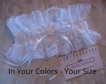 Wedding Garter, Lace Garter, Satin Garter, Black Garter, White Garters, Vintage Garter, Bridal Shower Gifts, EMBROIDERY ADDITIONAL