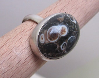 SALEFORONEWEEK - Sterling Silver Agate turtle Ring - Handmade jewelry - Natural stone - Size 6 1/2
