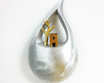 Metallic wall decor. Bronze house with a tree. Wall decoration. Home decoration. Home decor. Greek islands. Unique gift ideas