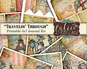Travelin' Through, Printable, Journal Kit, Traveling Journal, Printable Page, 5x7 Journal Kit, Printable Ephemera, Instant Download
