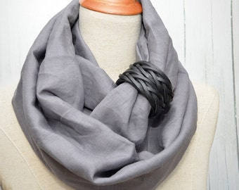 Linen scarf, Linen Infinity Scarf, Chunky Scarf, Natural Linen, Dark Gray. Black leather cuff.