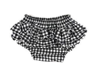 gingham ruffle bloomers, baby girl bloomers, ruffle bloomers, black bloomers, black checks diaper cover