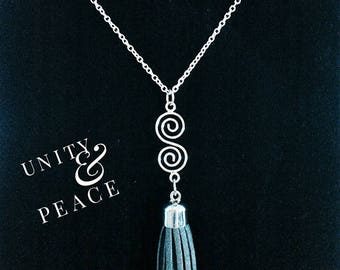 Boho Stylish Tassel/Spiral Silver Diffuser Necklace,Essential Oil Diffuser Necklace, Aromatherapy Necklace,Tassel Necklace,Diffuser Necklace