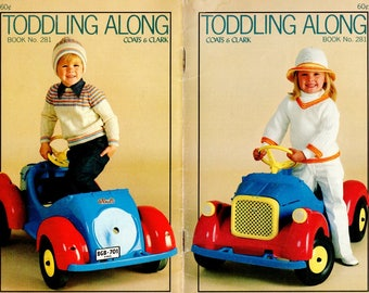 Toddling Along Knit, Crochet Patterns Coats & Clark Book No. 281 Sweater, Poncho, Hat, Blanket