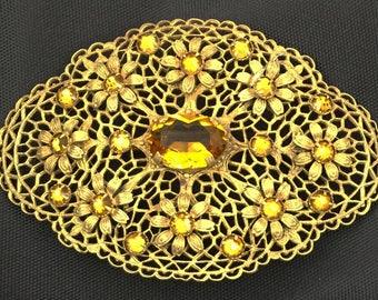 Large Amber Glass Oval Filigree Brass Brooch .Ornate Vintage.