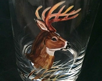Deer Wine Glass. Hand Painted for the Deer Hunter.