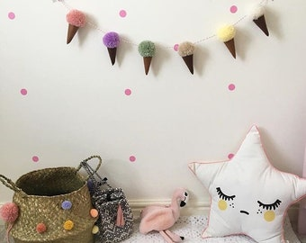 Ice cream garland. Pompom ice cream garland. Wall decor. Wall hanging.