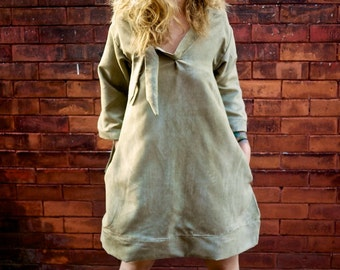 Grey Long Sleeve A Line V Neck Mod Dress with Pockets|Plus Size Dress|Maternity Dress|Oversized Dress|Loose Dress|Vintage Dress|Party Dress